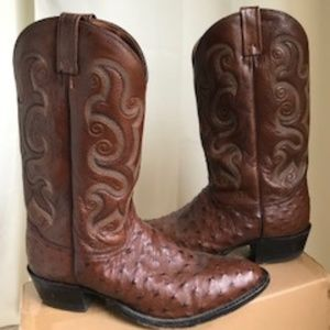 Men's Tony Lama Leather Ostrich Boots Sz 13A